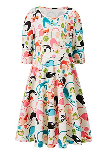 Beige Dress for Preteen Girls Cat Bird Cartoon Printed Autumn Fall Outside Play Dresses Chic Colourful Street Casucal Frocks Clothes, 10-13 Years Old, XL]()