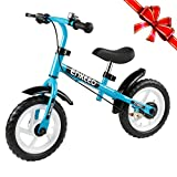 Enkeeo No Pedal Balance Bike 12 inch Cycling Walking Bicycle with Bell and Hand Brake for Ages 2 to 6 Years Old, Adjustable Handlebar and Seat, 110lbs Capacity, Blue