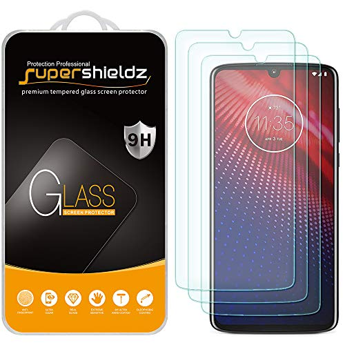 (3 Pack) Supershieldz for Motorola Moto Z4 Tempered Glass Screen Protector, Anti Scratch, Bubble Free (Screen For Motorola Phone)