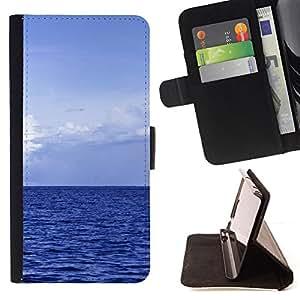 BullDog Case - FOR/Sony Xperia M2 / - / Blue Ocean /- Monedero de cuero de la PU Llevar cubierta de la caja con el ID Credit Card Slots Flip funda de cuer