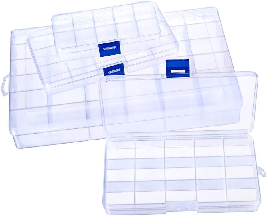 PandaHall Elite 6 Caja de Almacenamiento de envases de Cuentas de plástico Transparente para joyería de Perlas, 3 Estilos
