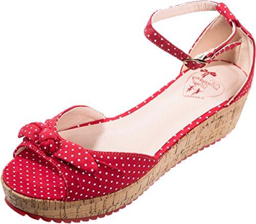 Dancing Days Damen Schuhe RiRi West Polka Dot Plateau Wedges Knöchelriemchen Kirschrot mit weißen Dots