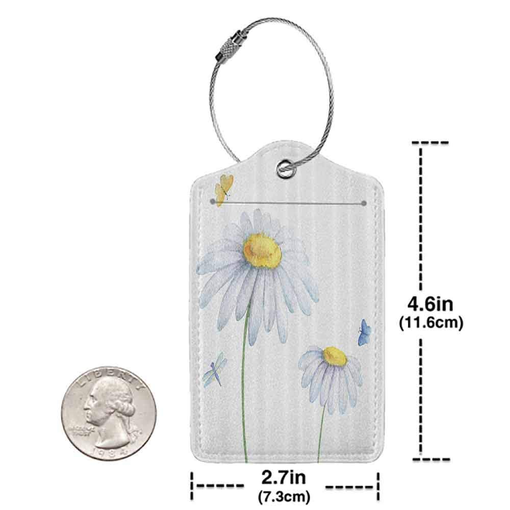 Multicolor luggage tag Country Decor Chamomiles Moths and Dragonflies Refreshing Nature Template Print with Light Colors Hanging on the suitcase White Yellow W2.7 x L4.6
