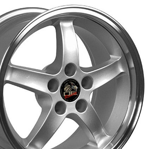 17x9 Wheel Fits Ford Mustang - Cobra R Style DD Silver w/Mach'd Lip Rim (Wheel 17x9 Replica)