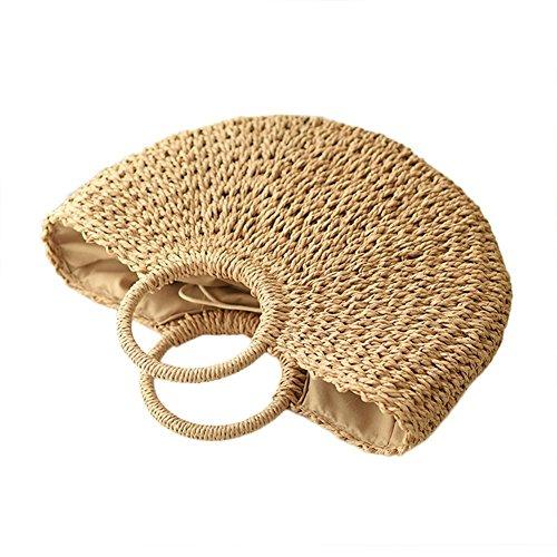 iBaste Natural Chic Straw Bag Hand Woven Round Handle Handbags Handmade Casual Summer Beach (Casual Chic Handbag)
