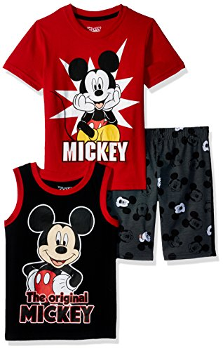 Disney Toddler Boys' Mickey 3 Piece Short Set, Red, 3T by Disney (Image #1)