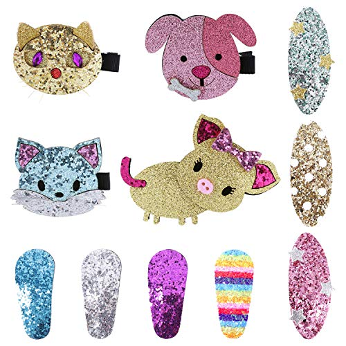 11 Pack Bulk Mini Small Little Cute Glitter Sparky Sequins Hair Bow Clips Barrettes Alligator Lined Snap Ribbon Pigtail Holder Cat Dog Piggy Star Fancy Accessories for Baby Infant Toddler Kids Girl ()