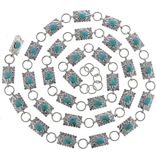 Turquoise Link Concho Belt Adjustable Silver Navajo Made 0038