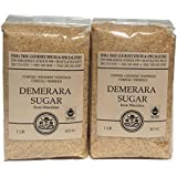 Demerara Granulated Brown Table Sugar for Tea, Coffee and Baking. 2 Packs of 1 Pound Bags