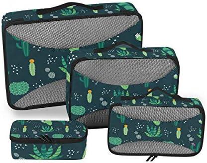 グリーンサボテン塗装 荷物パッキングキューブオーガナイザートイレタリーランドリーストレージバッグポーチパックキューブ4さまざまなサイズセットトラベルキッズレディース