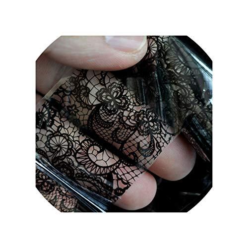 (Lace Flower Pattern Nail Foil Decals Black & White Gel Diy sticker,207)