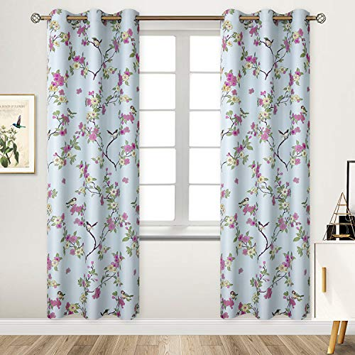 BGment Printed Blackout Curtains for Bedroom with Birds Floral Patterns - Grommet Thermal Insulated Room Darkening Vintage Curtains for Living Room, Set of 2 Panels (42 x 84 Inch, Light Blue)