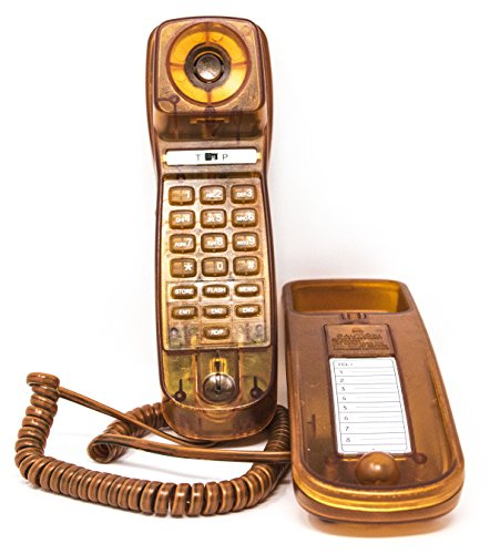 Trimline Corded Phone - Caller ID - Retro Novelty Telephone - Apricot Tan -Three Language display, English, French, and Spanish - See Through Trimline Phone – 1960's Styling