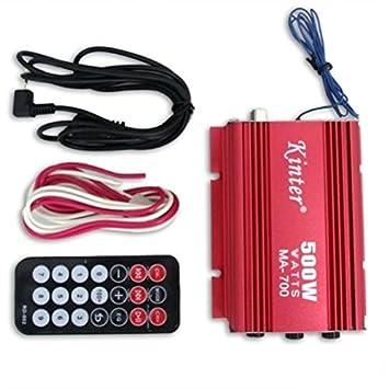 DeliaWinterfel 500 W RMS Amplificador de Altavoz AMP para Coche y Moto de 2 Canales USB