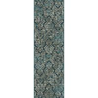 KAS Oriental Rugs Provence Collection Damask Runner, 22X 611, Slate Blue