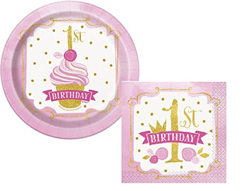 1st Birthday Girl Dessert Plate (Pink And Gold 1rst Birthday Dessert Plates And Napkins Set - Serves 8)