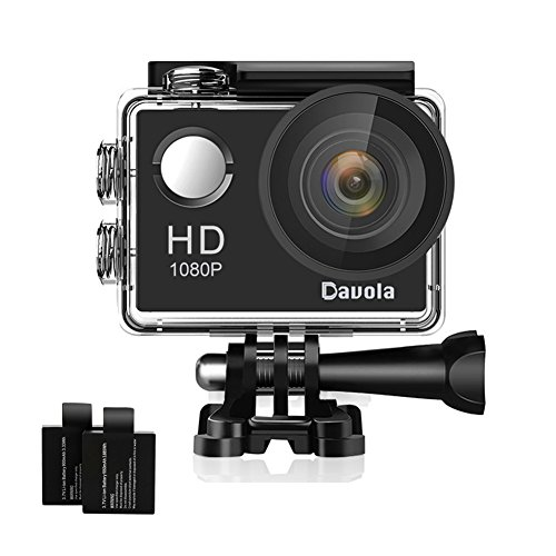Action Camera Sport Camera 1080P Full HD Waterproof Underwater Action Camera Davola WiFi Control with 170° Wide-angle Lens 12MP 2 Rechargeable Batteries and Mounting Accessories Kit