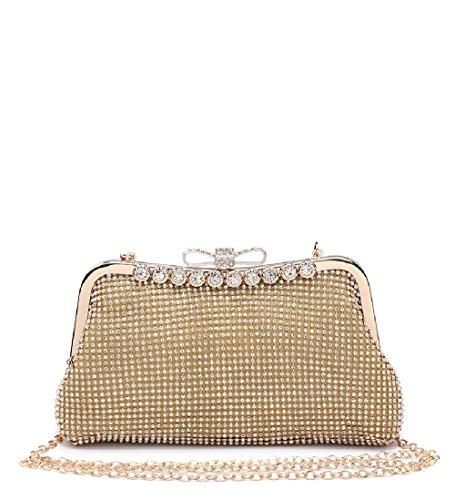 Gold Clasp Diamante Ladies ME68006 Bag Purse Handbag Clutch Women's Party dRdXAxz
