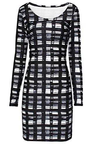 Bigood Robe Manche Longue Femme Fille Carreau Imprimé Mini-robe Tentation