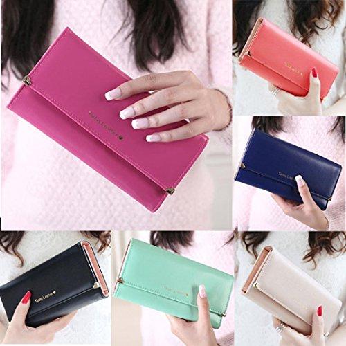 chaud bourse Tonsee rose cuir embrayage Wallet noir cadeau longue en Card Lady femmes Sacs Holder Credit rBZq6TB