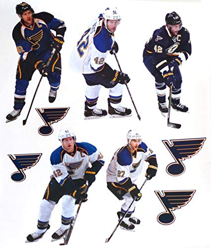 (FATHEAD St. Louis Blues Mini Graphics Team Set of 5 Players + 5 Blues Logo Official NHL Vinyl Wall Graphics Each Player 7