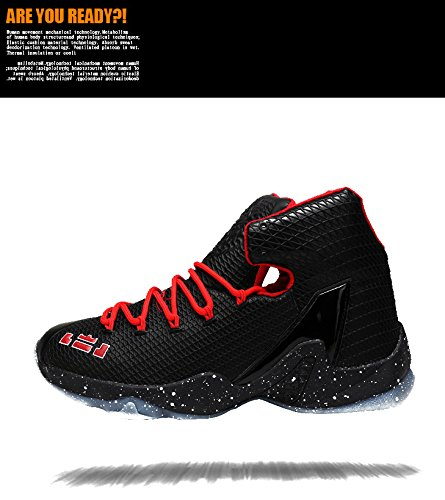 JiYe Fashin Shoes Mens&Womens Basketball Sneakers Red Black 5emrtJj