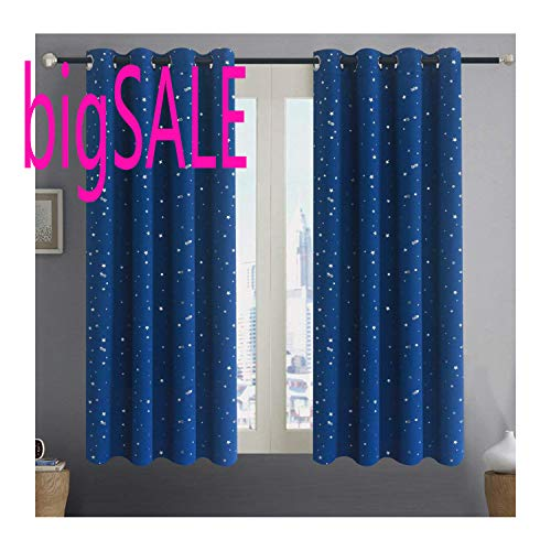 Alice Brown Romantic Starry Sky Creative Blackout Window Curtains for Kids Room/Girls Room/Boys Room Space Inspired Night Sky Twinkle Star Kids Room Draperies W52 x L63-Inch 2 Panels Navy Blue
