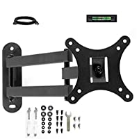 Articulating Tilt Swivel Extend Full Motion Corner LCD LED TV Wall Mount Bracket with HDMI Cable(Black, 12-24 Inches TV Display)