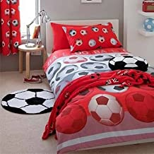 Red Soccer Ball Comforter Cover Set for Single Bed
