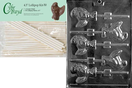 Cybrtrayd 45St50-T013 Medium Turkey Lolly Thanksgiving Chocolate Candy Mold with 50-Pack 4.5-Inch Lollipop Sticks ()