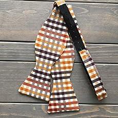 07194eb3a095 Orange Plaid Bow Tie/Mens Bow Tie/Adjustable Bow Tie/Plaid Bow Tie/Wedding.