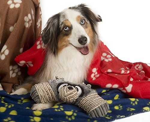 Fleece Blanket and Squeaky Toy for Medium, Large Dogs and Puppies, Soft Sleeping for Bed and Couch, in Car and Crate, Best Dog Gift in Red, Brown, Blue from Waggle Luv 39 x 55 Inches