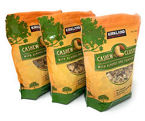 Milk Chocolate Cashew Cluster - Cashew Clusters with Almonds and Pumpkin Seeds 2 Pound Bag 3 Pack
