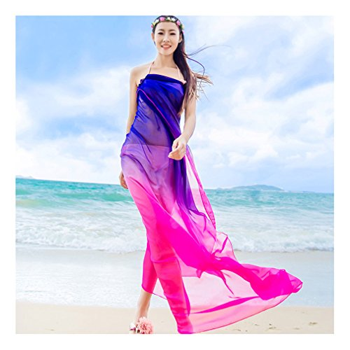 GERINLY Sarong Wrap - Two Tone Chiffon Hawaiian Beach Cover Ups (Rose+Blue)