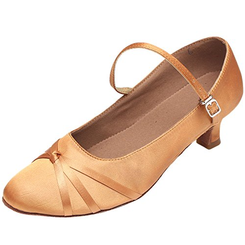 Azbro Mujer Zapato de Baile Salón de Baile con Hebilla de Tacón Mediano Marrón