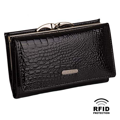 (Small Wallet for Women RFID Blocking Genuine Leather Card Holder Kiss Lock Black)