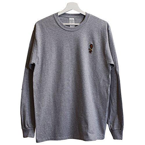 ido Xxl Hop Dato Hip gris Tang te Charlie X Clan Heather Peque bordado de Wu Odb camiseta o Brown manga larga real w6qOr6C1xY