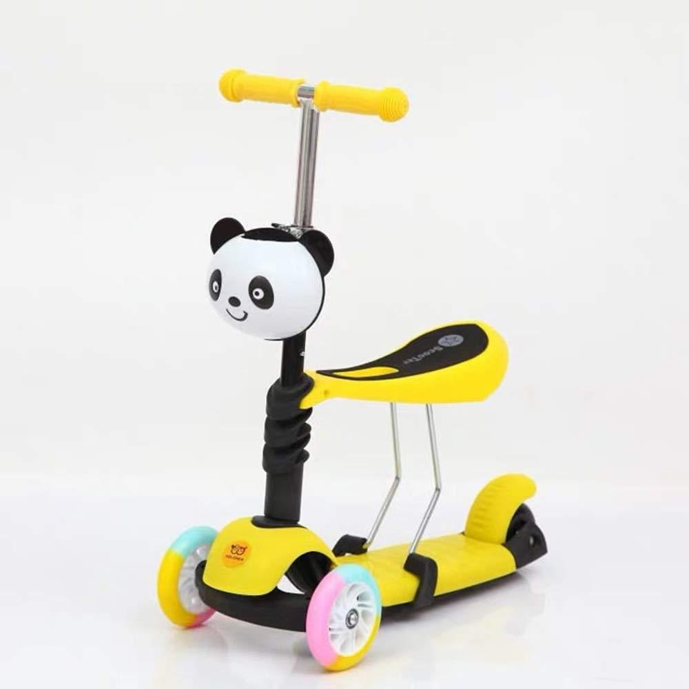 Shioya house 子供のスクーター三輪車の赤ちゃん3イン1バランスバイク、かわいいパンダスタイル ご愛顧ありがとうございました ( Color : Yellow )   B07R1S2V8T