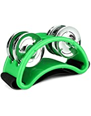 Flexzion Foot Tambourine Percussion with Double Row Steel Jingles - Foot Shaker Musical Instrument Drum Singer Vocalists Cajon & Guitar Players (Green)