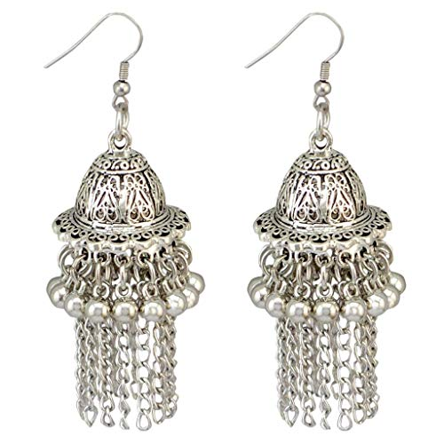 SimpleLif 1 Pair Tassel Drop Earrings Jewelry-Jingle Bell Jhumka Indian Unique Ethnic Bollywood Ear Studs Jewelry Accessories Gift Sliver,7.5 X 2 cm (Indians Earrings)