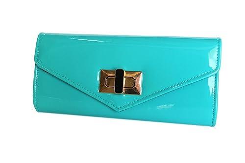 MICHELLE MOON - Cartera de mano con asa para mujer azul turquesa: Amazon.es: Zapatos y complementos