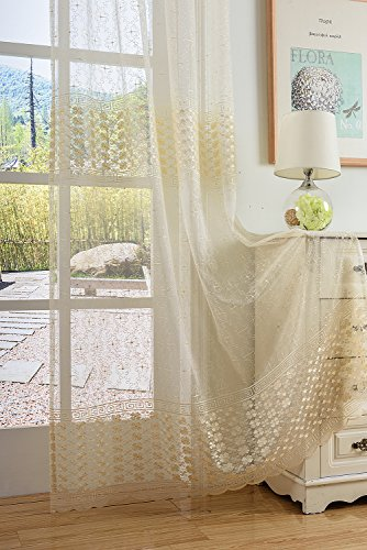 Aside Bside Clovers and Maze Embroidered Rod Pocket Top Fantasy Design Sheer Curtain Transparent Voile (2 Panels, W 52 x L 104 inch, White 16) -1281493521048510C1PGD