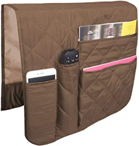 SS&LL SofaChair Armrest Organizer, Fits for Phone, Book, Magazines, TV Remote Light Brown