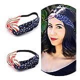 AKOAK New American Flag Headband USA 4th of July Head wrap Fashion Elastic Hair Bands Bandana Turban Hair Accessories