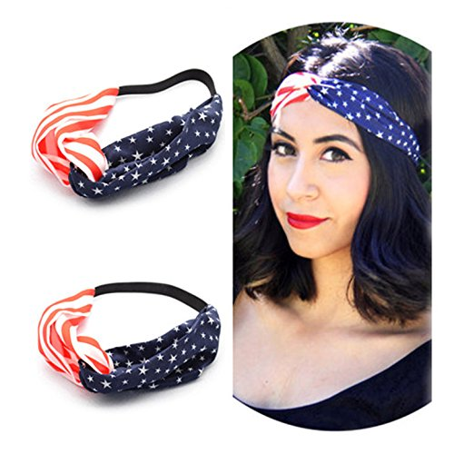 AKOAK New American Flag Headband USA 4th of July Head wrap Fashion Elastic Hair Bands Bandana Turban Hair - Flag Accessories American