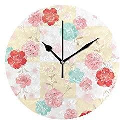 Ladninag Wall Clock Sweet Flower Pattern Silent Non Ticking Decorative Round Digital Clocks for Home/Office/School Clock