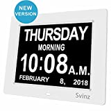 SVINZ 8'' Digital Calendar Alarm Day Clock with 3 Alarm Options, Extra Large Non-Abbreviated Day & Month SDC008-2 Color Display Settings