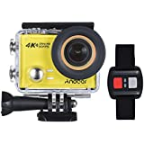 4K Action Camera, Andoer AN100 WIFI Sports Action Video Camera 30MP 1080P/120fps 2.0 IPS Screen 170° Wide Angle Waterproof 45m cam with Remote Control Support Gyro G-sensor FPV External Mic (Yellow)