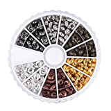 Pandahall 1Box/250pcs 6 Colors 5mm Brass Half Round Open Crimp Beads Covers Knot Covers Beads End Tips for Jewelry Makings Antique Bronze & Red Copper & Black & Silver & Golden & Platinum Nickel Free