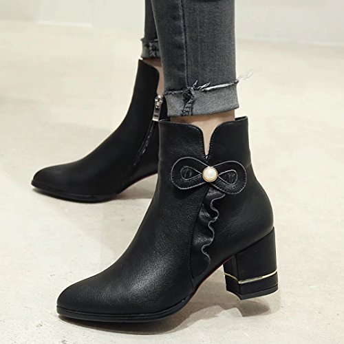 Boots Toe With Black Womens AIYOUMEI Autumn Booties Heel Pointed Bow Block Winter Ankle fFEpR